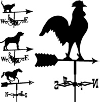 Weathervanes and lightning rods in vector silhouette
