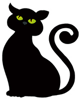Cat silhouette on white background - vector illustration.