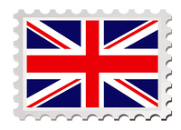 British flag inspired by a stamp with drop shadow