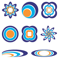 collection of eight orange and blue illustrated icons