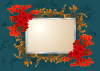 floral background with grand flourishing elements and copy space
