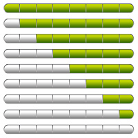 Collection of download bars with neon green indicator