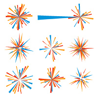 Exploding brightly colored icon in orange and blue