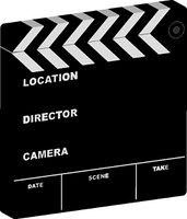 illustration of a film clapper with room to add your own cinema information