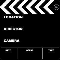 Flim clapper board with space to put your own text