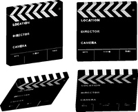 Four different angles of a film clapper illustration