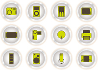 Collection of twelve web technology icons illustrated in green and brown