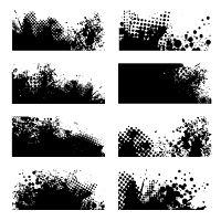 Black ink grunge with halftone dot and eight variations