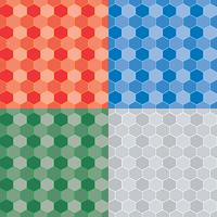 Seamless repeat pattern in four color variations using a honeycomb style image