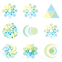 Icon design elements in illustrated pale pastel colors