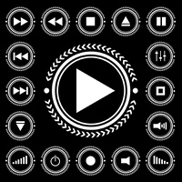 Black and white electronic control icon buttons with arrow border