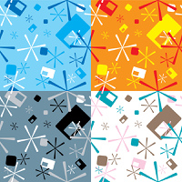 Abstract seventies star design that is ideal as a background or seamless desktop with four color variations