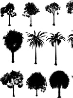Collection of silhouette trees over a white background