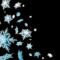 winter scene with a blue and white snowflake design