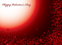 Valentines day background in red with love hearts floating in the distance