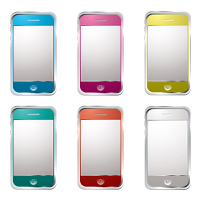 collection of six modern gadget phones with colour variation