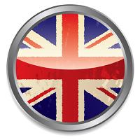 Grunge british flag icon with light reflection and silver bevel