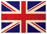 Grunge british flag in red white and blue with old aged effect