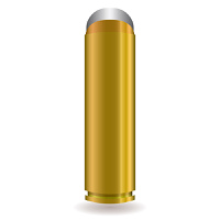 Large rifle bullet with silver tip and gold body