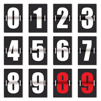 Old fashioned number counter with black background and red and white numbering