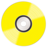 Music compact golden disc album illustration with light reflection