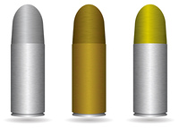Collection of three small handgun bullets with different metal finishes