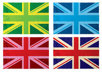 Collection of abstract british grunge flags with color variation
