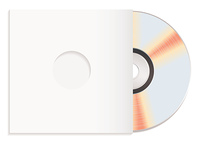 Shiny silver cd with red reflection and white compact disc cover