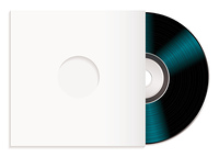 Black music record with white cover or sleeve