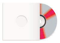 Silver shiny silver cd with white paper case