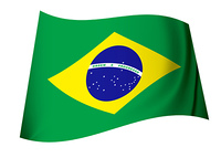 green and yellow brazil flag icon with globe and stars