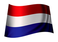 dutch flag flying in the wind or icon from holland