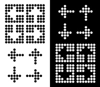 Arrow icon collection made from round dots in negative and positive