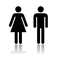 Black and white simple toilet symbols with shadow