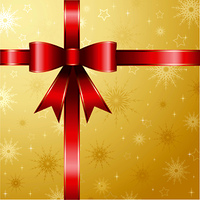 Christmas gift background with glossy red ribbon