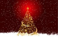 Golden Christmas tree on snowflake background