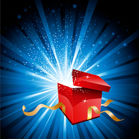 Open gift box with stars bursting out of it