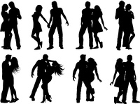 Silhouettes of lots of couples in various poses