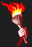 drawing of the torchlight in hand of the person