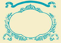 Frame with banner and floral elements around . Vector illustration.