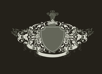 An heraldic shield or badge, blank so you can add your own images . Vector illustration.  Black  background  .