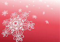 Surreal snowflakes design . Red  abstract background with snowflakes . Vector illustration.
