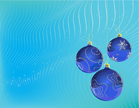 Vector Illustration of three blue Christmas Balls decorated with snowflake on blue Background