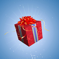 Vector illustration of red square present box with a bow and ribbons on starry blue background