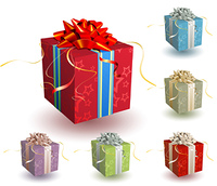 Vector illustration set of square present boxes with a bow and ribbons