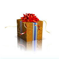 Vector illustration of red square present box with a bow and ribbons on shiny reflective surface