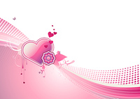 Vector illustration of funky styled design background with heart shape and floral elements