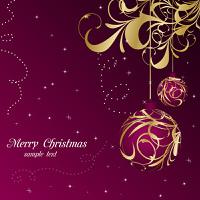 Illustration elegant christmas floral background with balls - vector