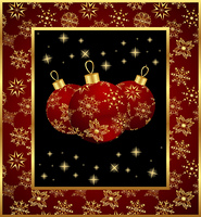 Illustration set Christmas balls on snowflakes background - vector