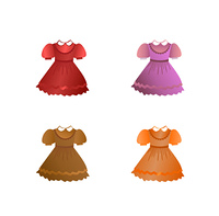 Set of children dresses. Vector